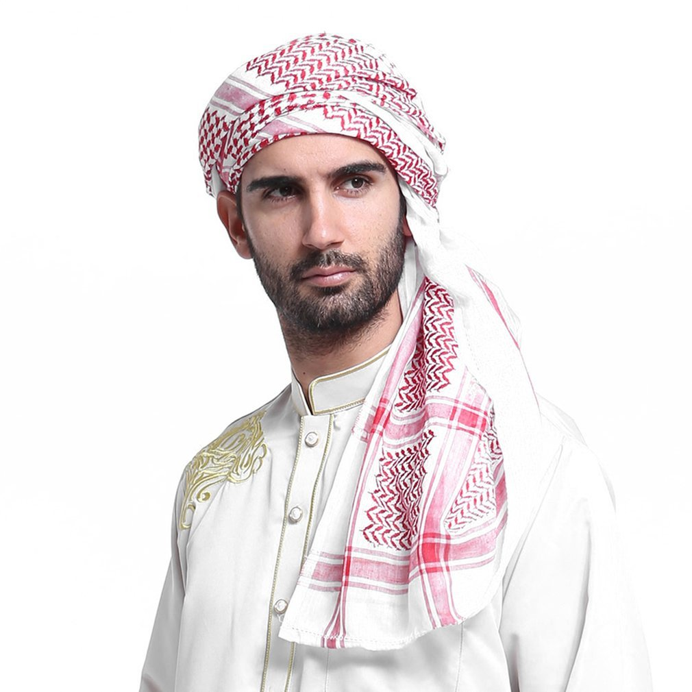 Geometric Printed Muslim Hats For Men Arabia Man Scarf Muslim Hijab Scarf