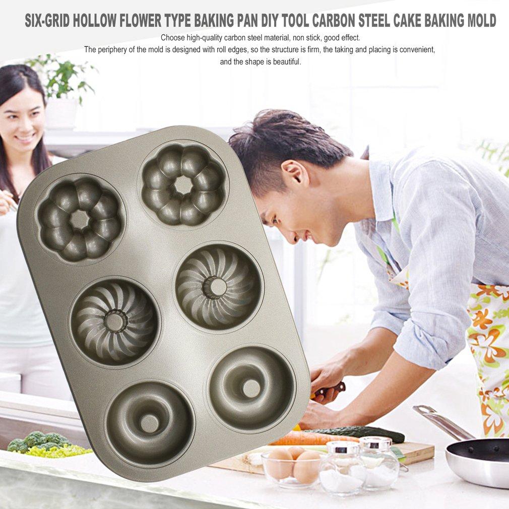 Six-Grid Hollow Flower Type Baking Pan DIY Tool Carbon Steel Cake Baking Mold