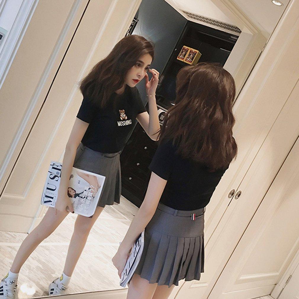 Fashionable Summer Wear Women Casual Short Sleeve Shirt Tops Comfortable Cartoon Bear Embroidery Teenage Girls T-Shirt