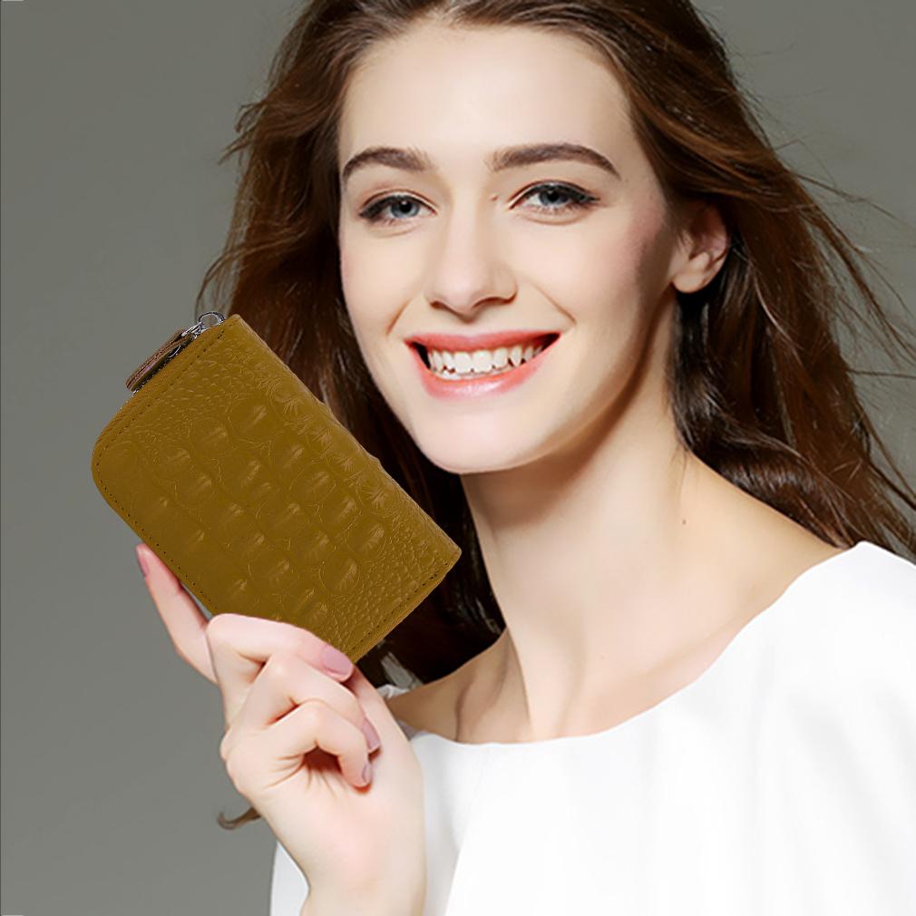 Crocodile Leather Zipper Card Package Credit Card Wallet Bag For Women Men