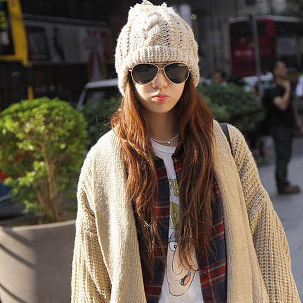 New Fashion Winter Warm Women Men Knit Ski Ball Wool Hat Ski Cap Gift