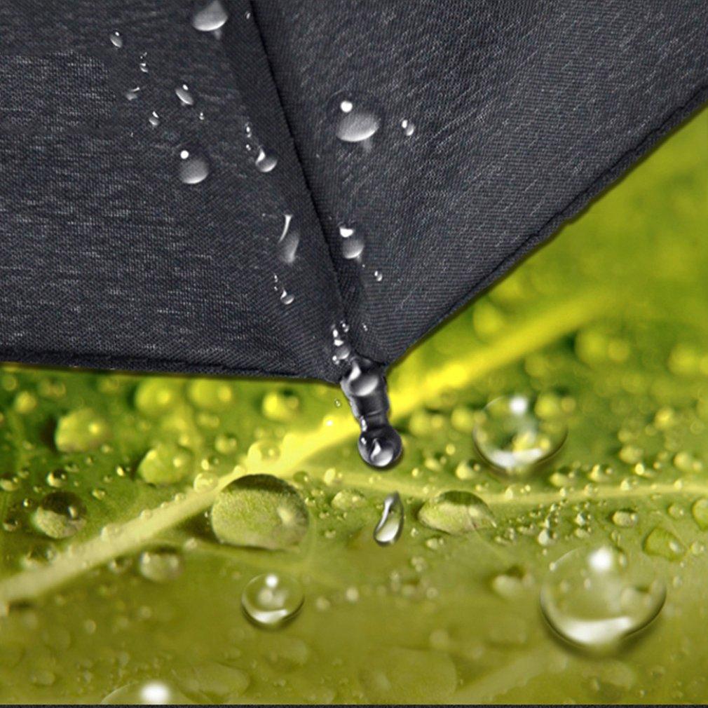 Hook Straight Handle 10 Rib Automatic Wind Resistant Three-Folding Umbrella