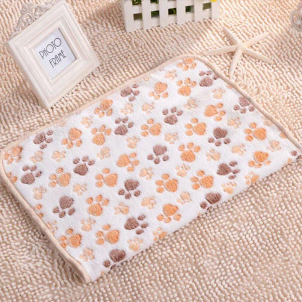 Pet Cat Dog Puppy Kitten Warm Puppy Fleece Soft Blanket Bed Mat Paw Print