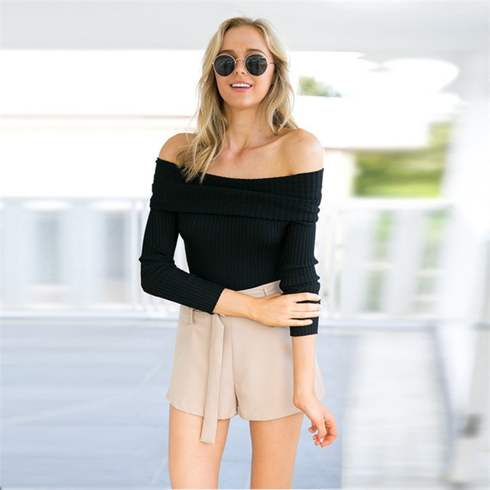 Sexy Strapless Knitting Tops Off Shoulder Women Knitted Long Sleeve Cardigan