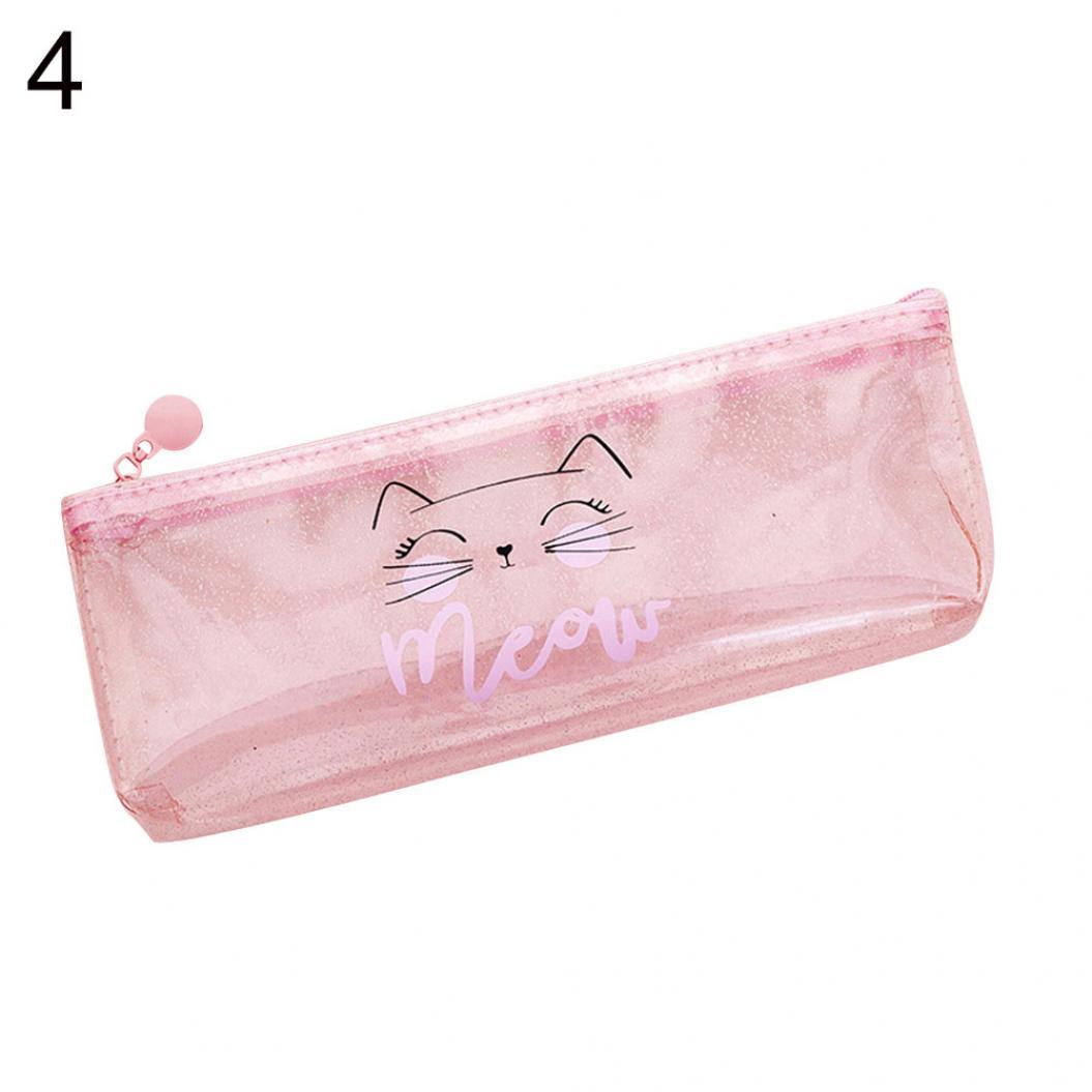 Transparent Cute Cat Letter Pencil Bag Pen Case Storage Holder Stationery Gift