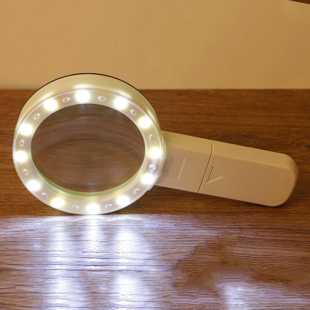 Magnifying Glass Loupe Magnifier LED Lights Ultraviolet Money Detector Lamp