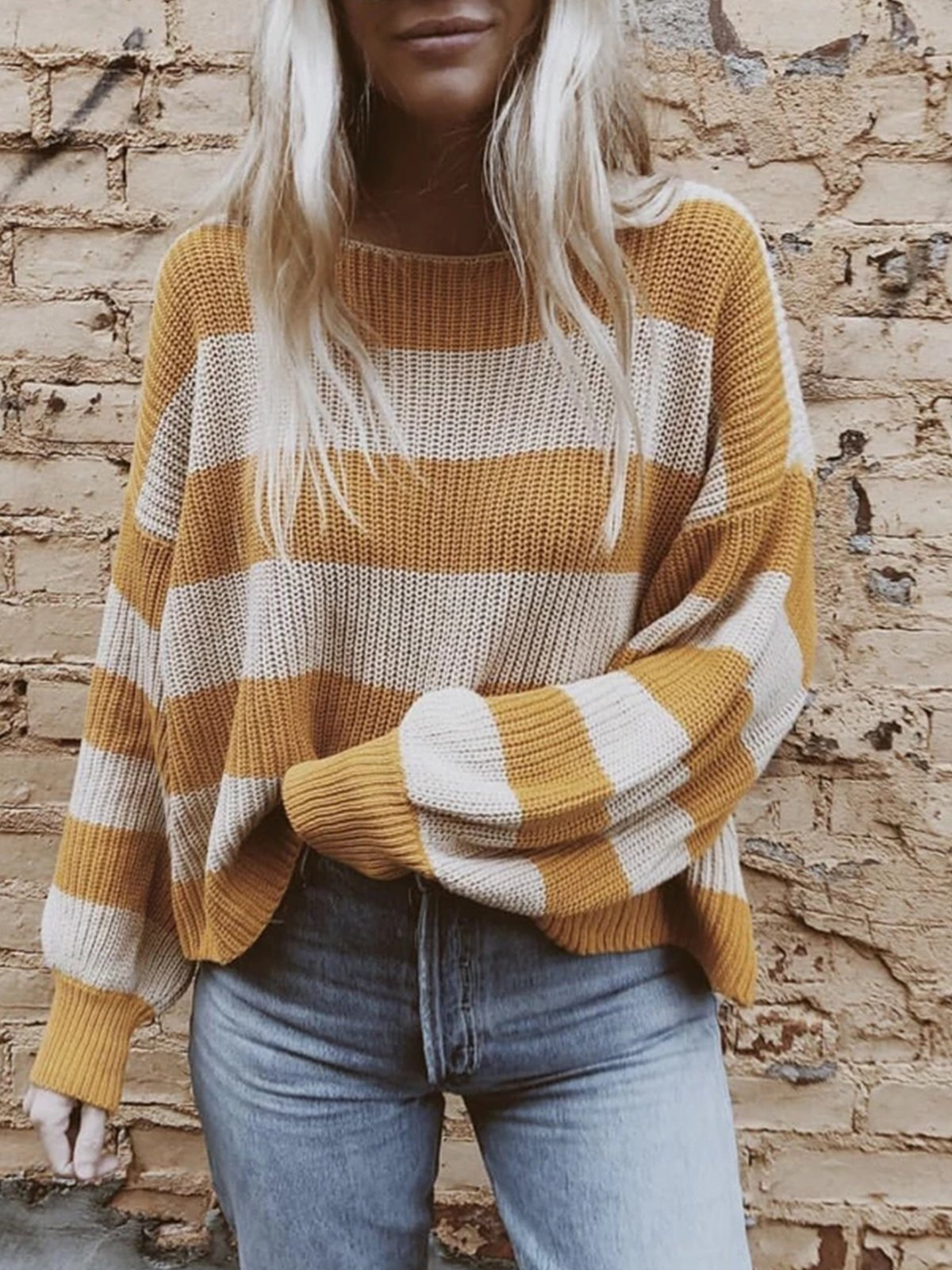 Crew Neck Color-Block Long Sleeve Knitted Sweaters