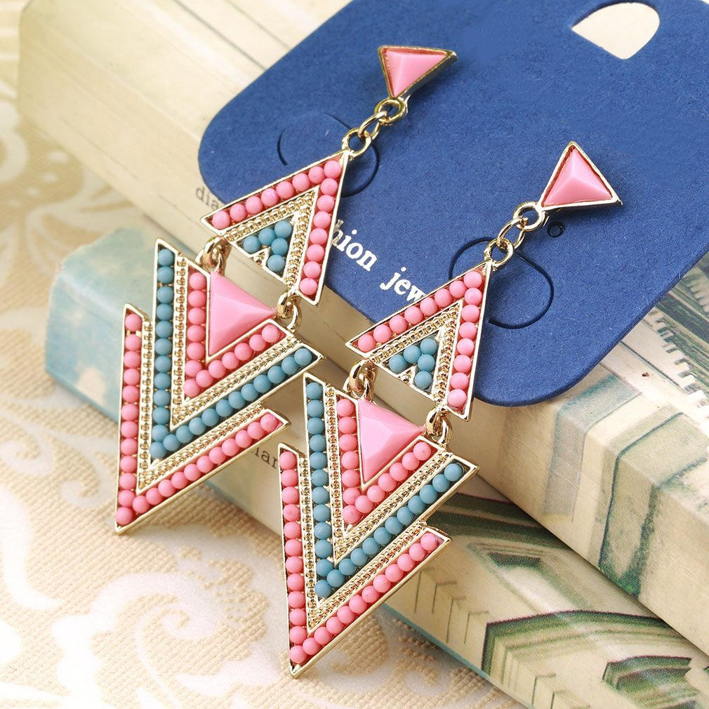 Women Fashion Vintage Multi Color Glaze Triangle Shape Dangle Earrings
