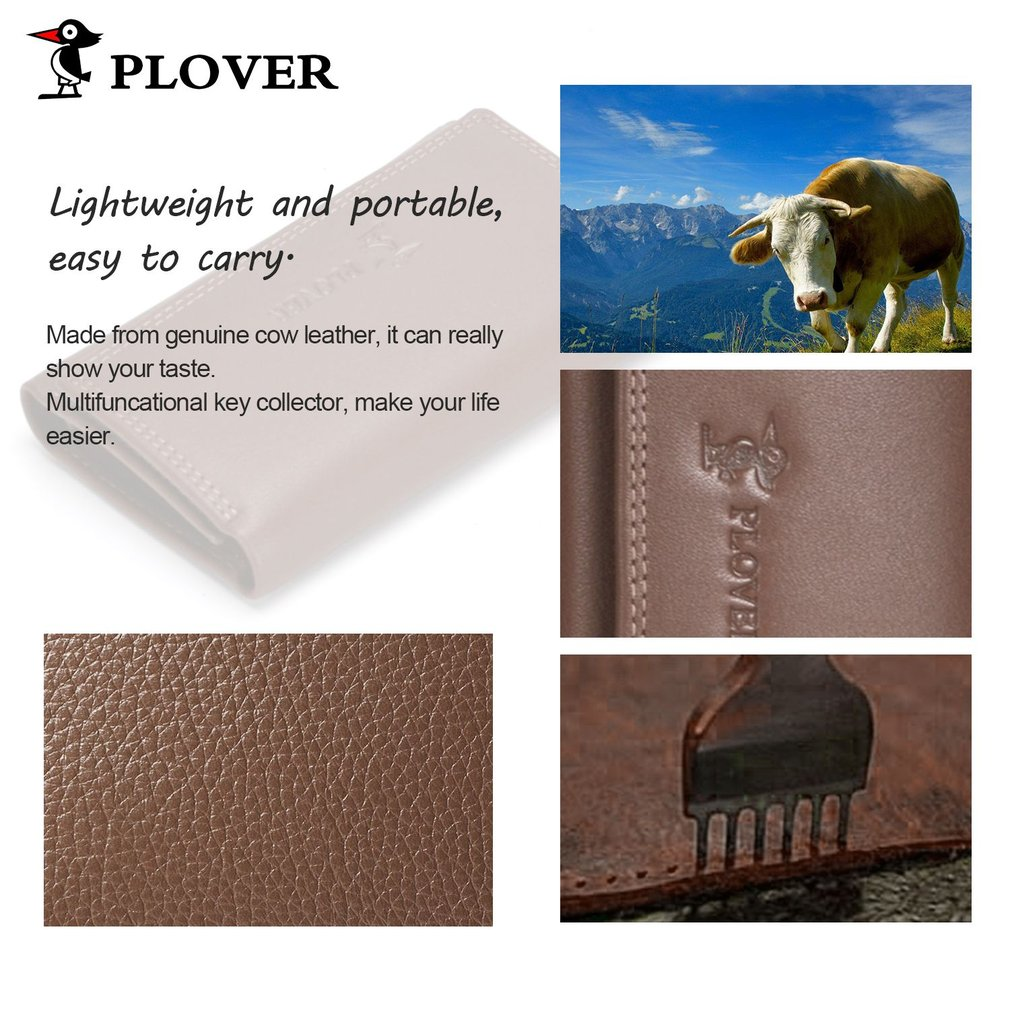 PLOVER GD5254-YF Multifunctional Business Genuine Cowhide Leather Brown Key Case