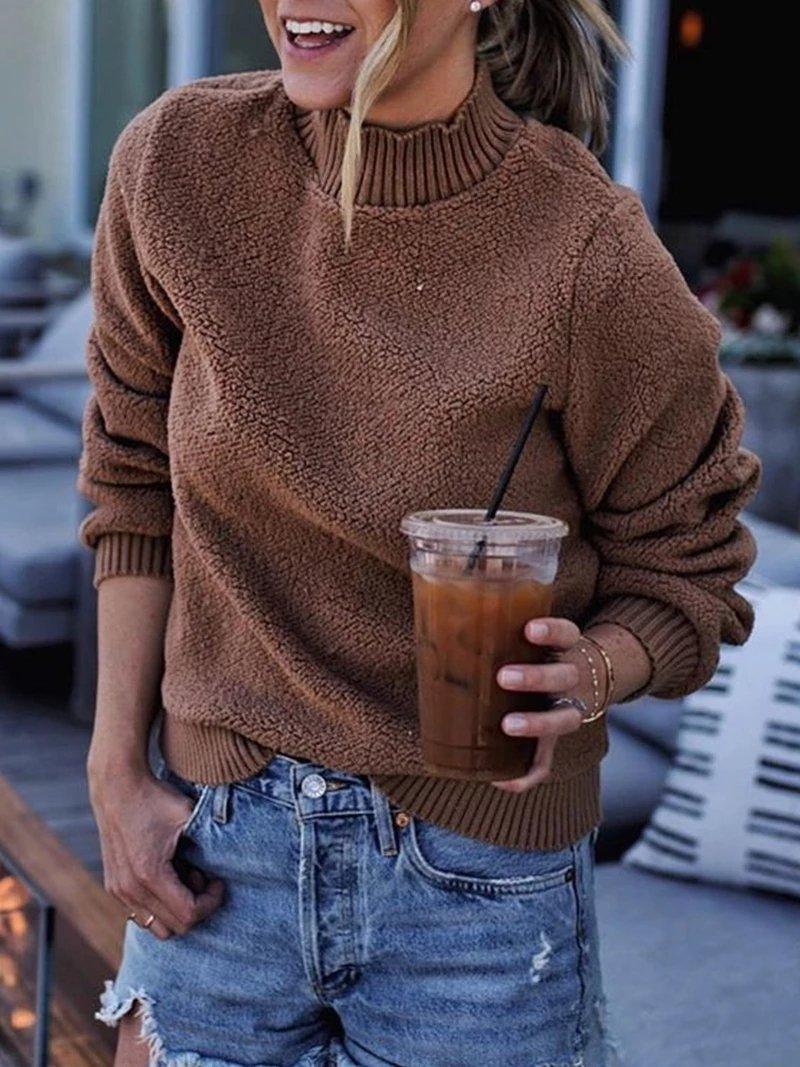 CasualStand Collar Pure Colour Sweater