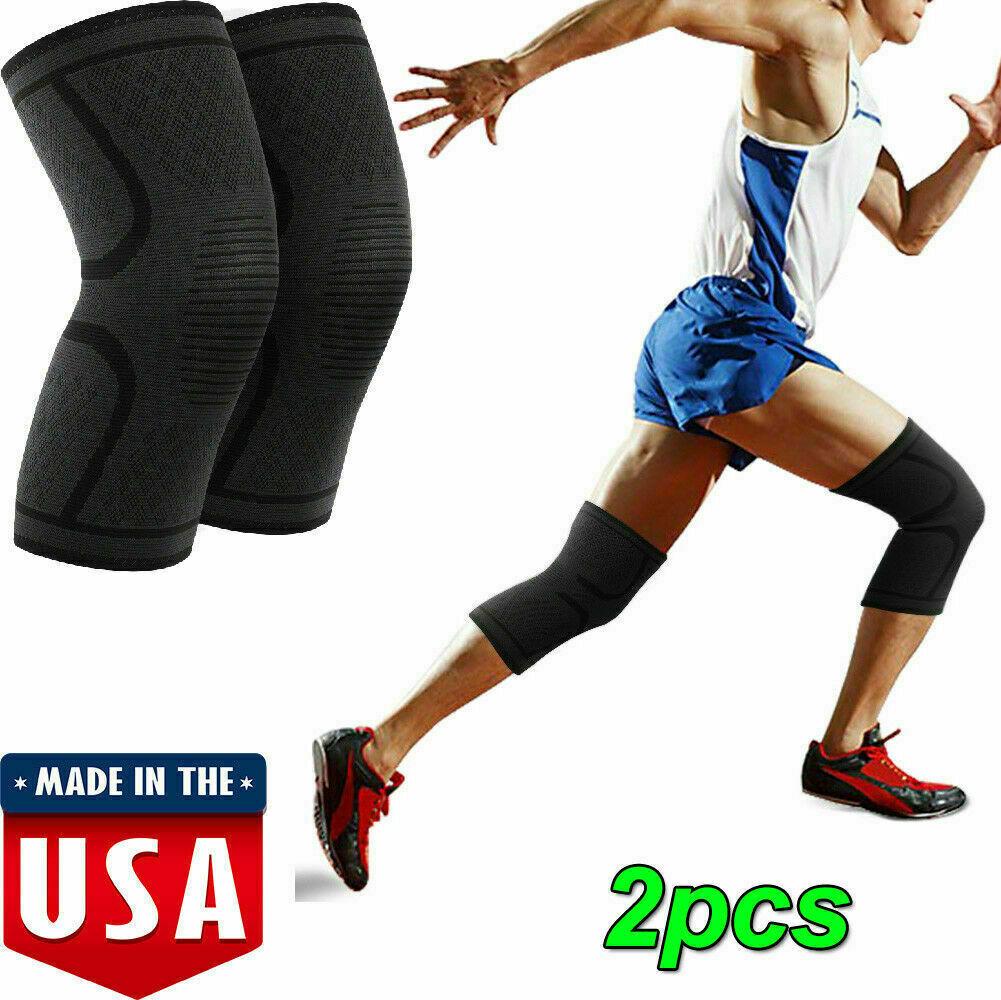 Knee Support Sleeves Sports Fitness Brace Leg Knee Protector Outdoor Running Black