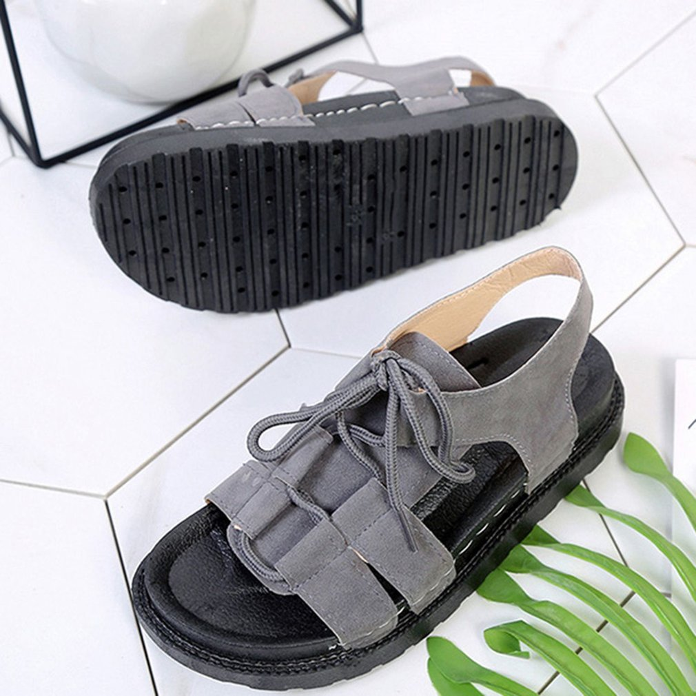 Fashion Thick Soled Open Toes Women Summer Sandals Casual Girls Ladies Beach Shoes Flat Soled Front Lacing Students Shoes