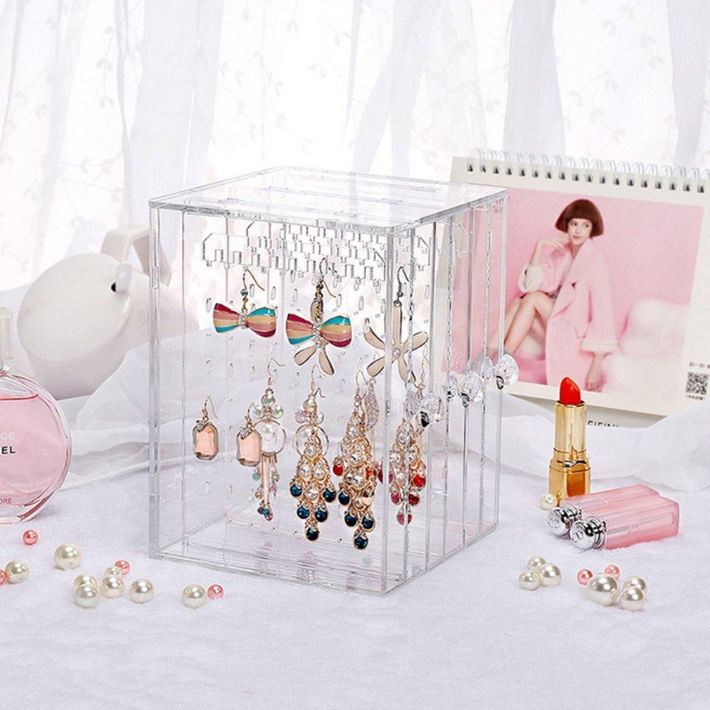 Simple Design Transparent Women Jewelry Display Shelf Practical Desktop Earrings Holder Storage Rack Display