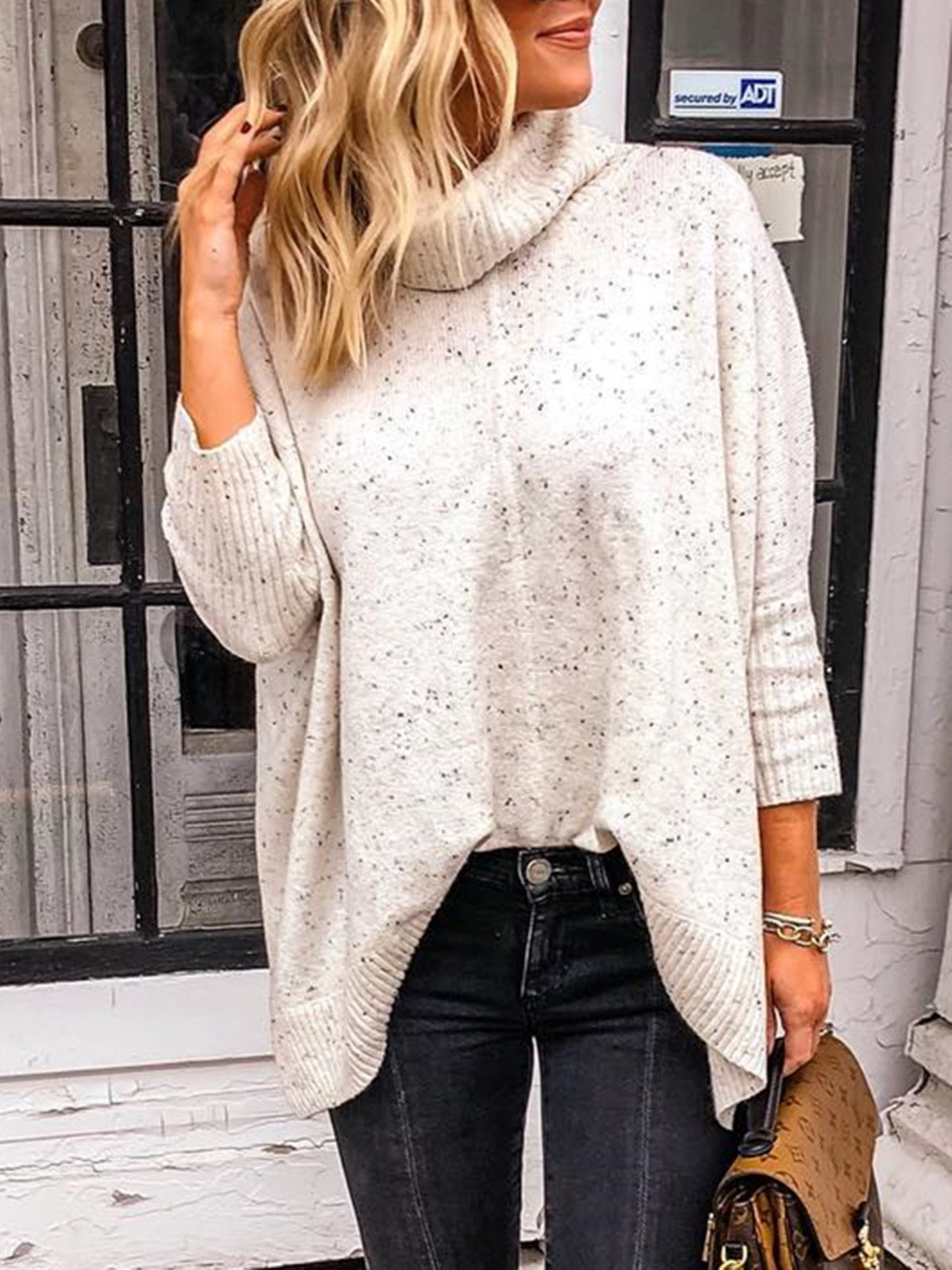 Casual Plain Knitted Turtleneck Long Sleeve Sweatshirt