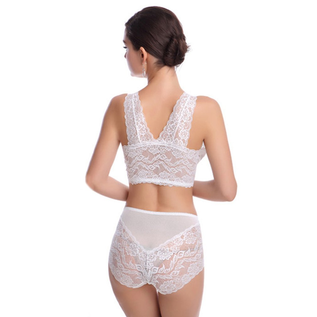 Women Lace Vest Bra Sexy Ladies Hollow Out No Steel Ring Strappy Wire-Free Bra