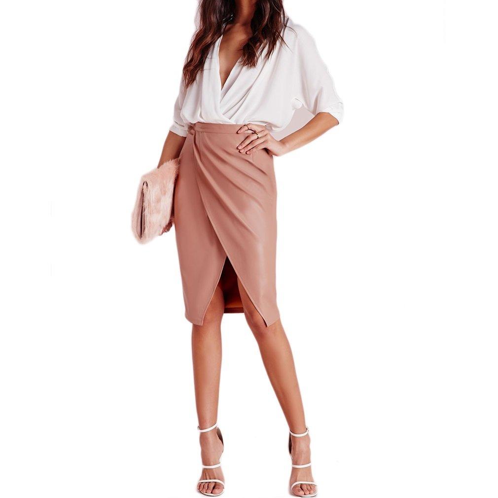 Women's Elegant Knee Length PU Splicing Skirt, Pink