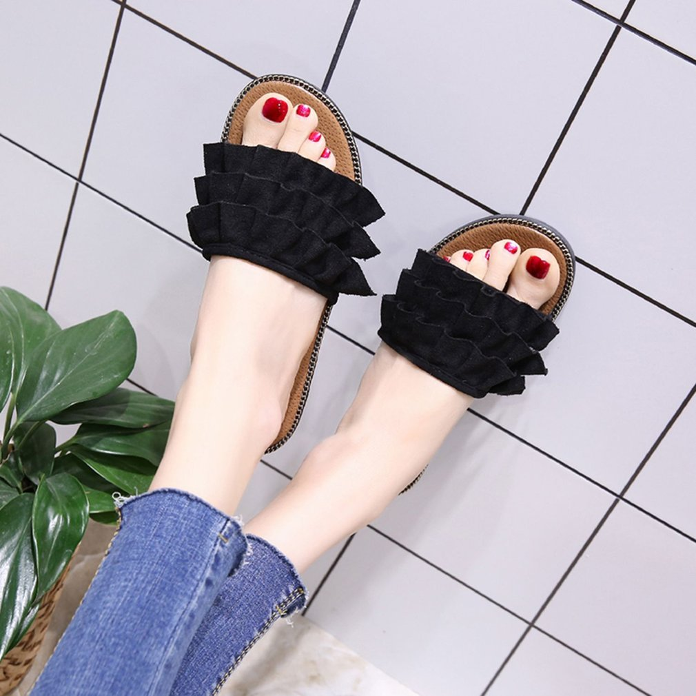 Fashion Summer Slippers Anti-skid Comfortable Flat Heel Slippers All-match Casual Beach Sandals Shoes For Female