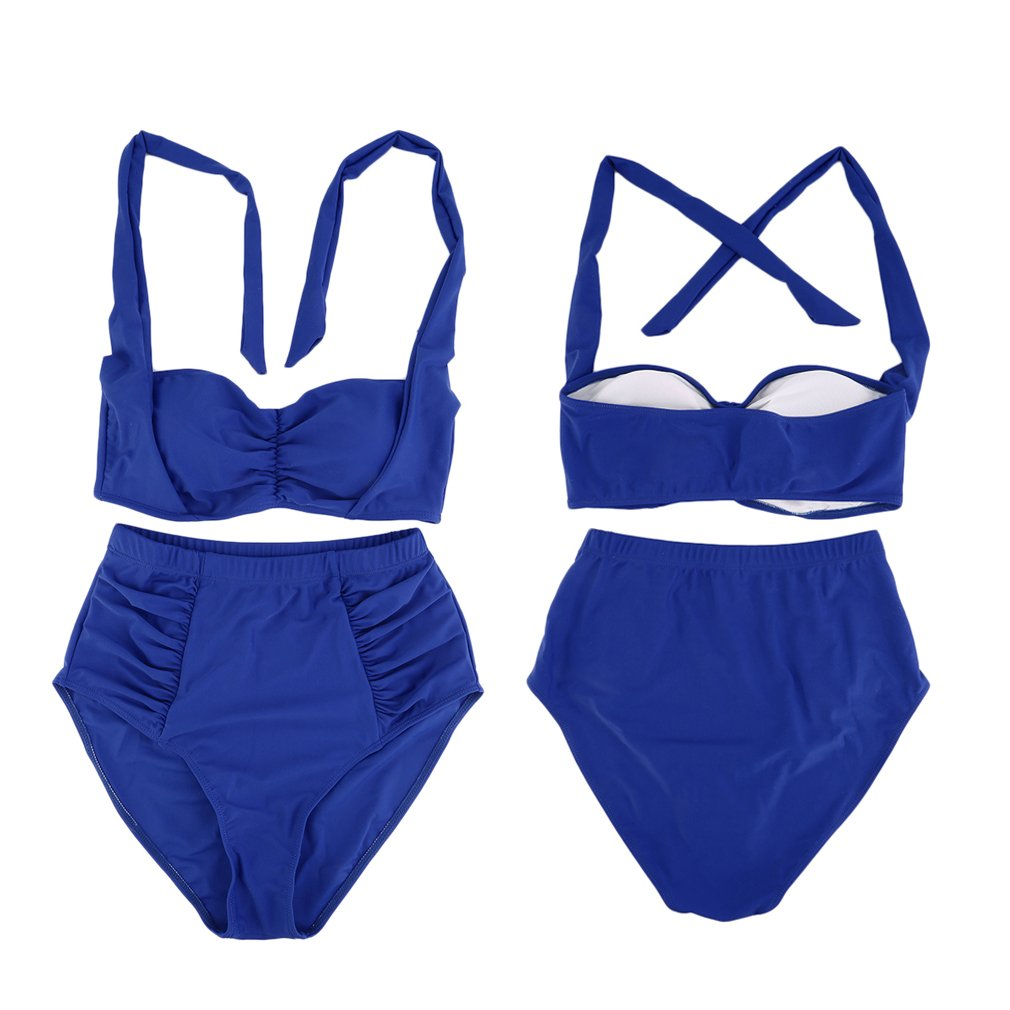 Women Sexy Large Beach Swimwear Bikini Set Halter Bra Bottom Swimsuit L-3XL
