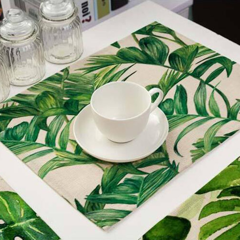 42*32CM Green Leaves Pattern Western Table Pad Cotton Linen Dining Table Mat