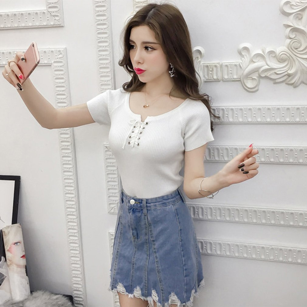 Lace-up Pullover Round Collar Short Sleeve Knitted Shirts Slim-fit Solid Color