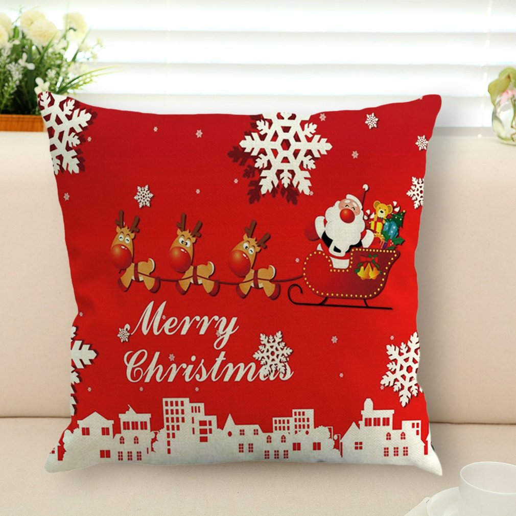 Flax Pillow Case Christmas Pillowcase Pillow Cover Cushion Cover For Home Use