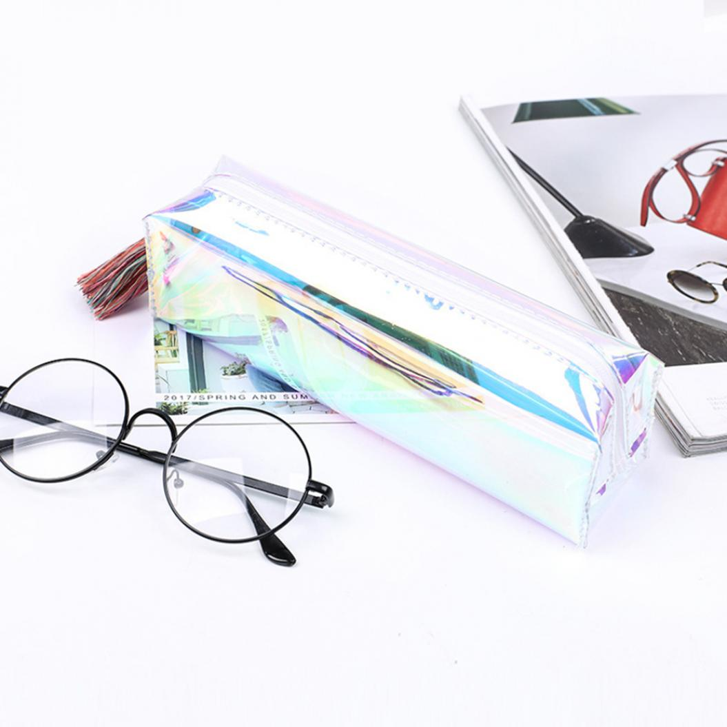 Transparent Laser Tassal Pencilcase Pen Storage Bag Pouch School Stationery