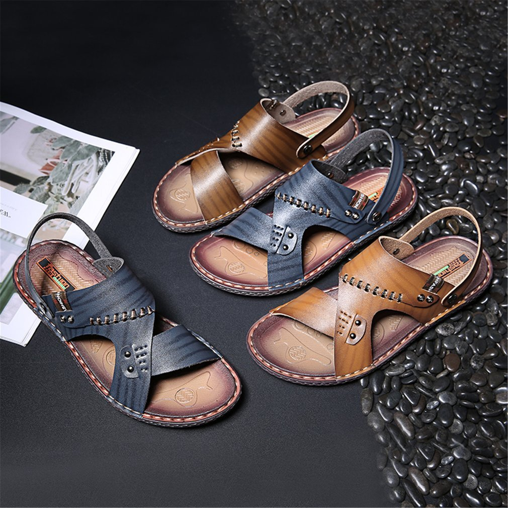 Fashion Summer Anti-slip Sole Soft Leather Flat Shoes Man Sandal Slip-on Slippers Breathable All-match Style Casual Wear Shoes