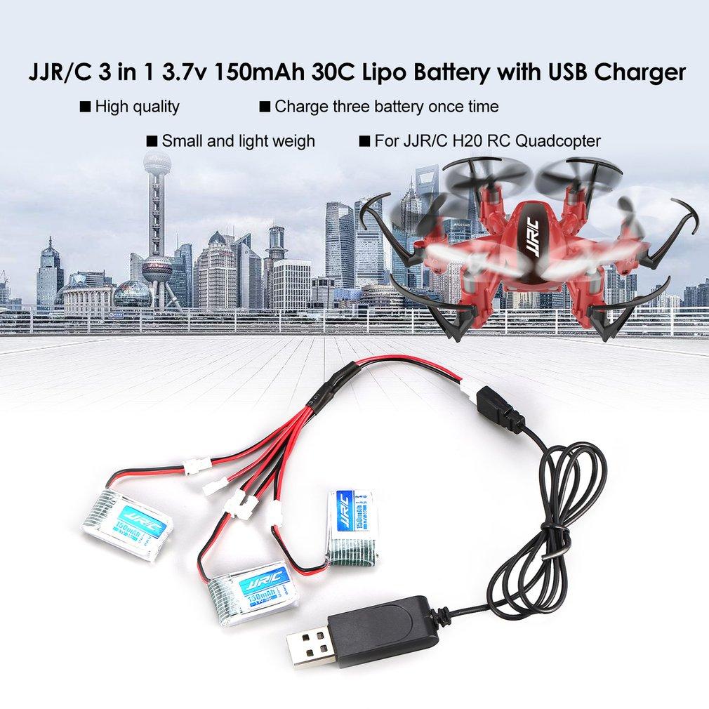 Original JJR/C 3Pcs 3.7v 150mAh Lipo Battery USB Charger for H20 RC Quadcopter