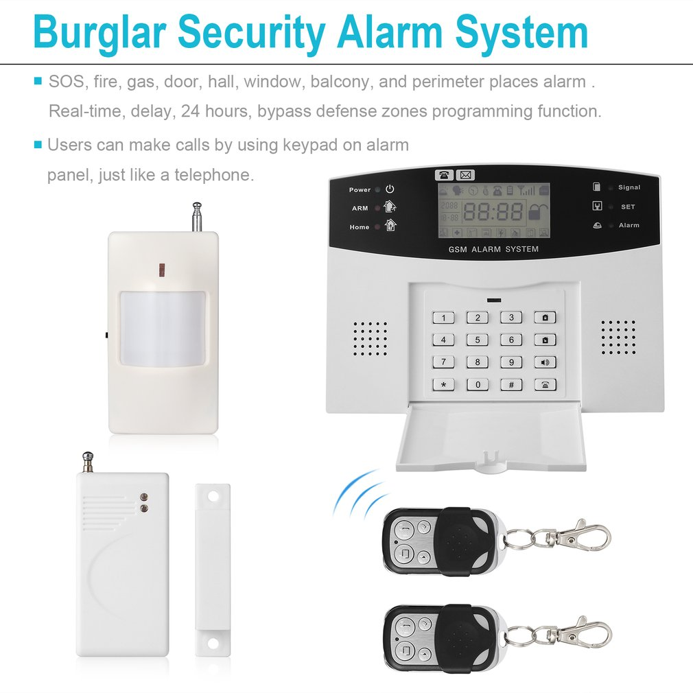 GSM SMS Home Burglar Security Alarm System Wireless PIR Detector Sensor