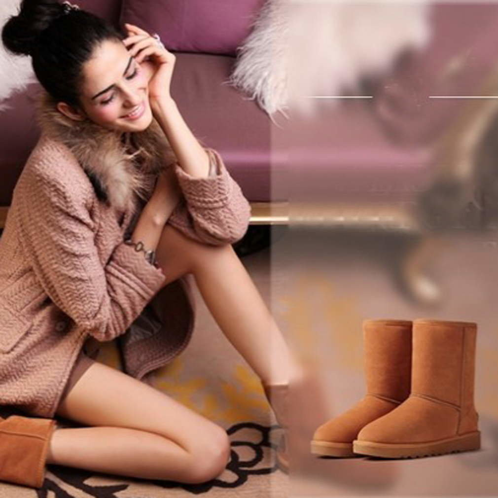 Fashion 25cm Height Faux Wool Warm Winter women snow boots