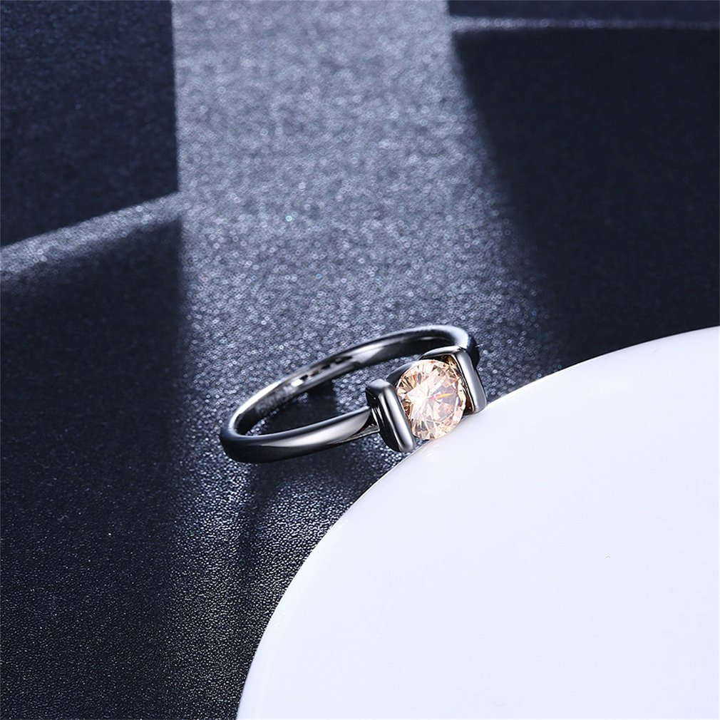 Classic Princess Large AAA Round Yellow Zircon Finger Ring Female Jewelry