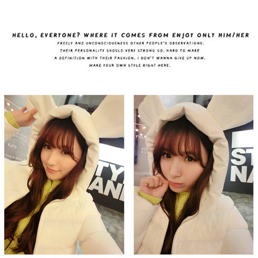 Girls Lovely Hooded Down Jacket with Cute Ear Shape Hood Long Sleeve Coat