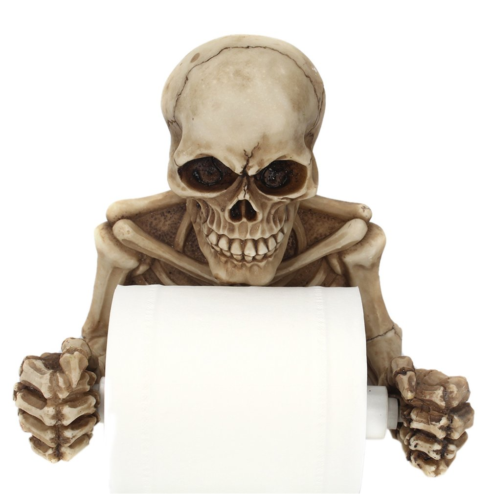 Novelty Skull Shape Wall Hanging Kitchen Bathroom Toilet Roll Paper Towel Rack