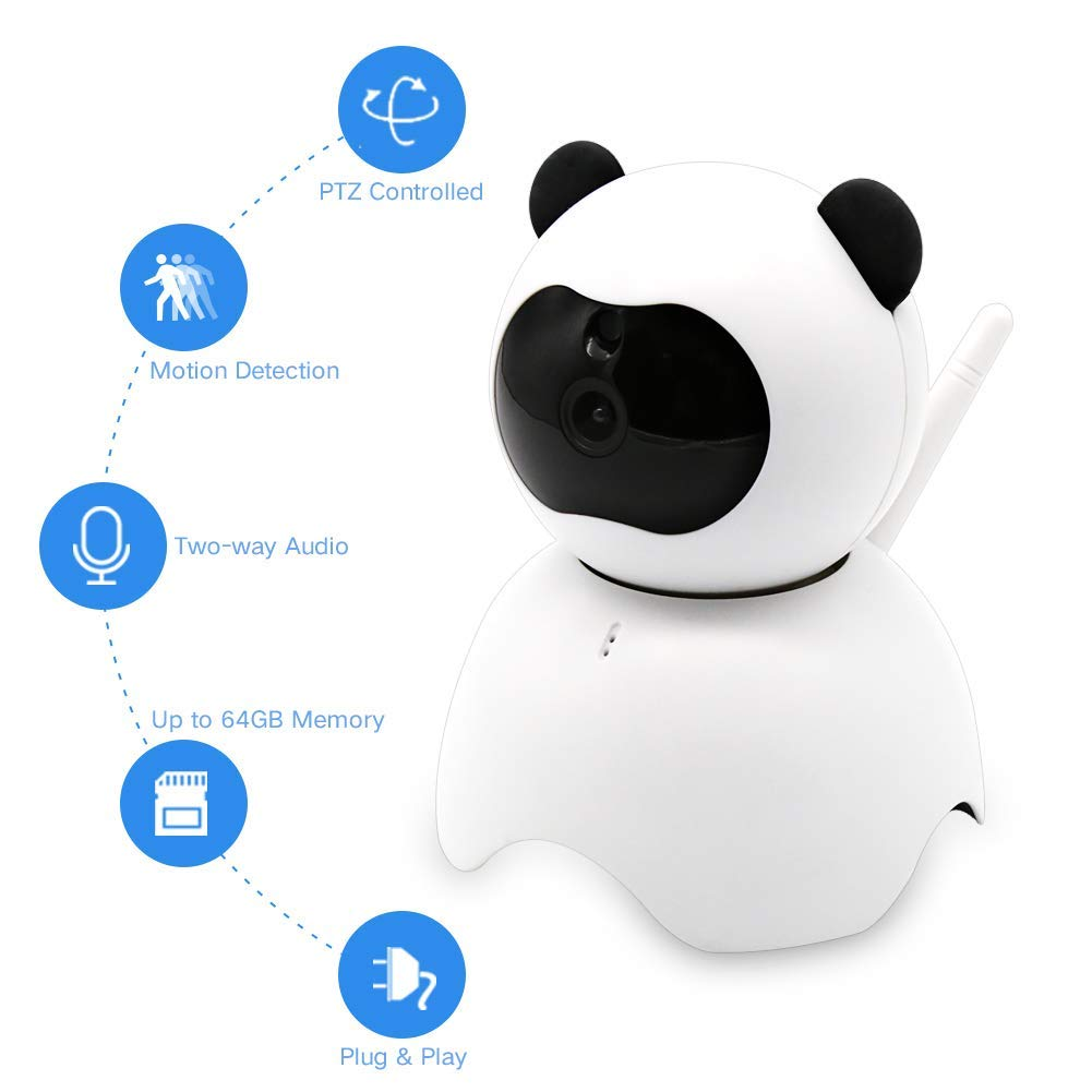 EsiCam Baby Monitor Wifi Camera Nanny Camera for Smart Phone, Toy Panda for Kids Pet Care HD Pan Tilt Motion Detection Alarm Recording Two-way Audio Night Vision SD Card P2P Cloud Account (1080p)