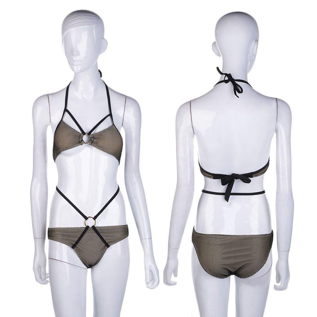 Women's Back Tie Mesh Bikini Swimwear Triangle Bottom Set Beach Swimsuit