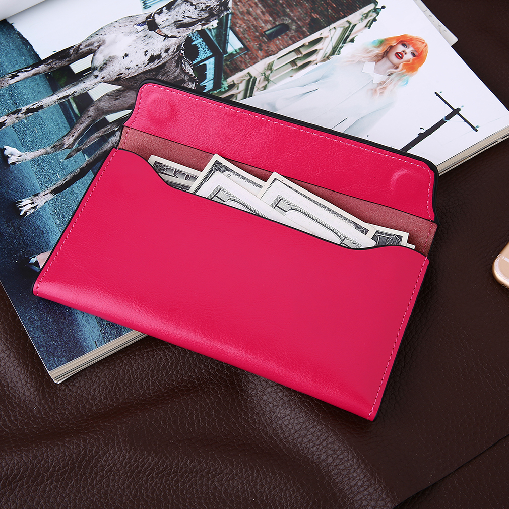 Trendy Women Vintage Style Magnetic Wallets PU Leather Soft Long Purse