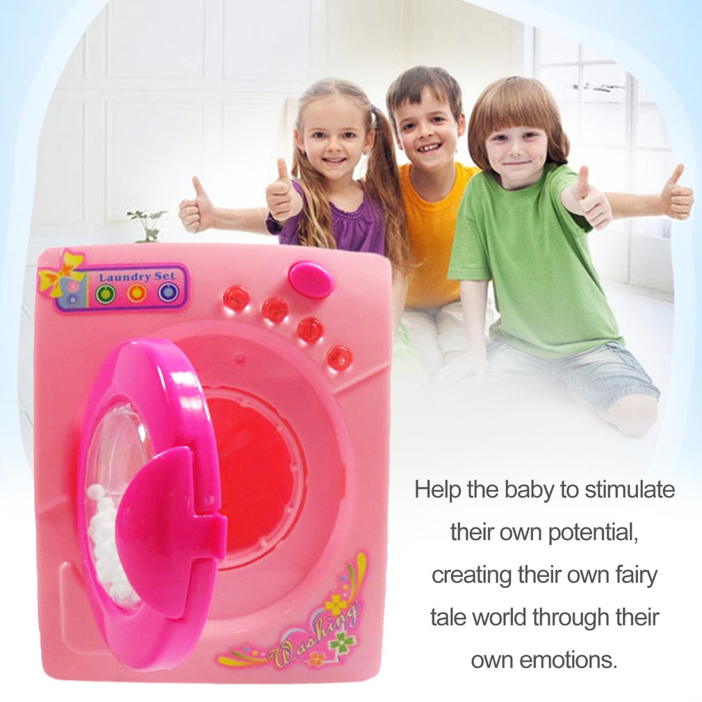 Children Simulation Toys Electric Washing Machine Plastic Kids Children Play House Toy Baby Girls Pretend Play Toys Pink