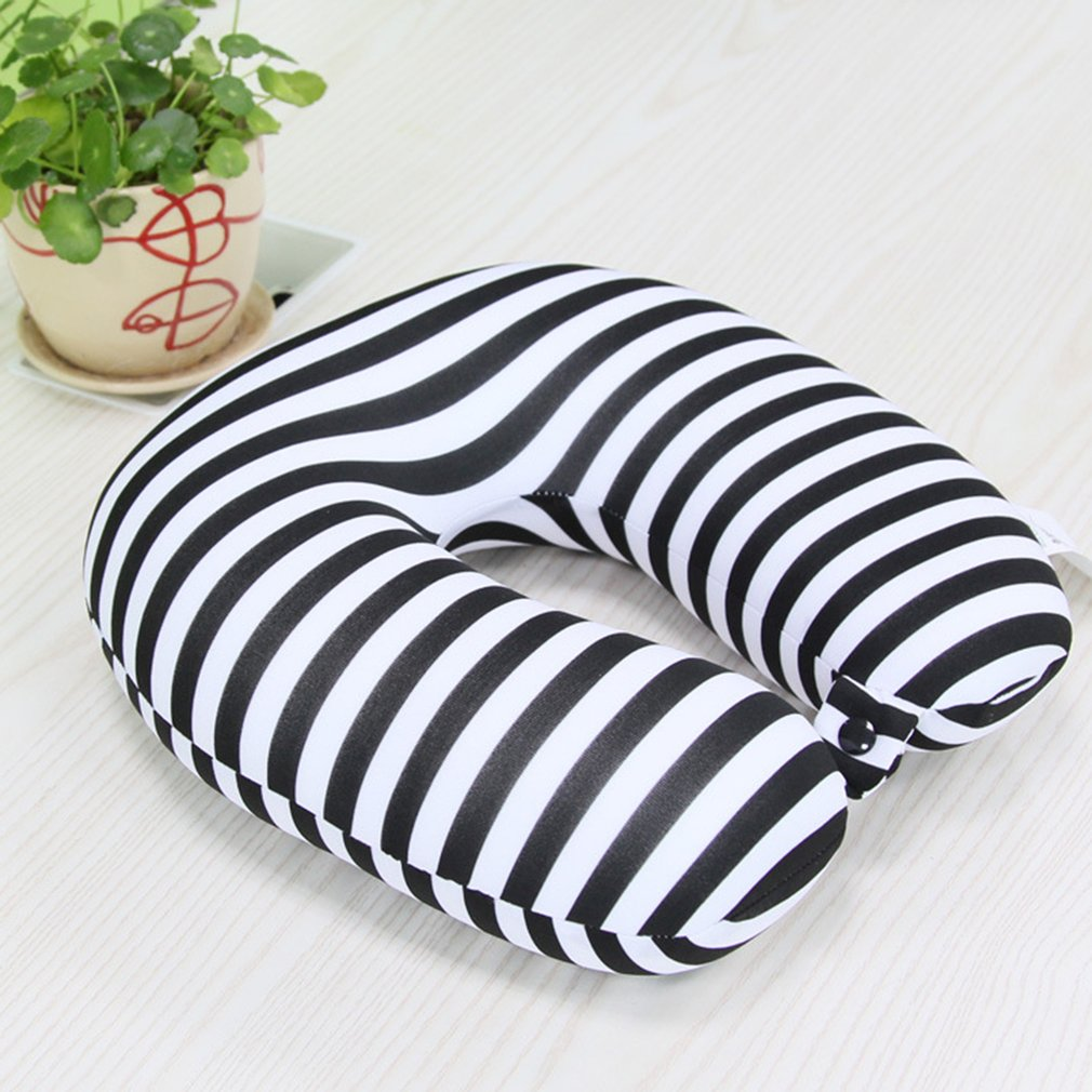 Striped U-Shaped Particle Pillow Travel Drive Pillow For Protecting Neck