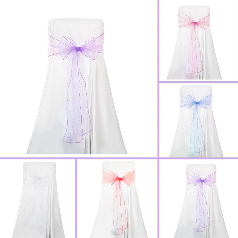 100pcs turquoise organza chair sashes bow wedding party banquet decoration DIY