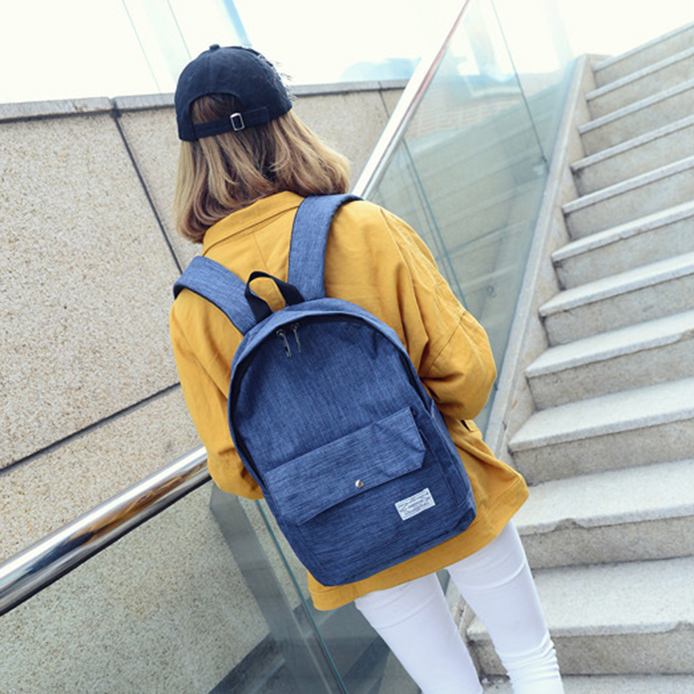Fashion and Stylish Simple Canvas Backpack Preppy Style Student School Bag