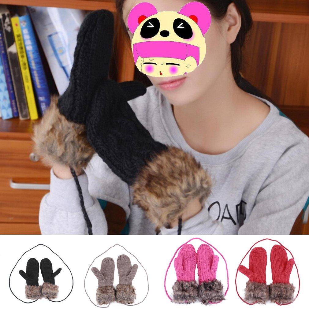 Women Girl Double-Deck Hang Neck Winter Mittens Knitted Warm Gloves New