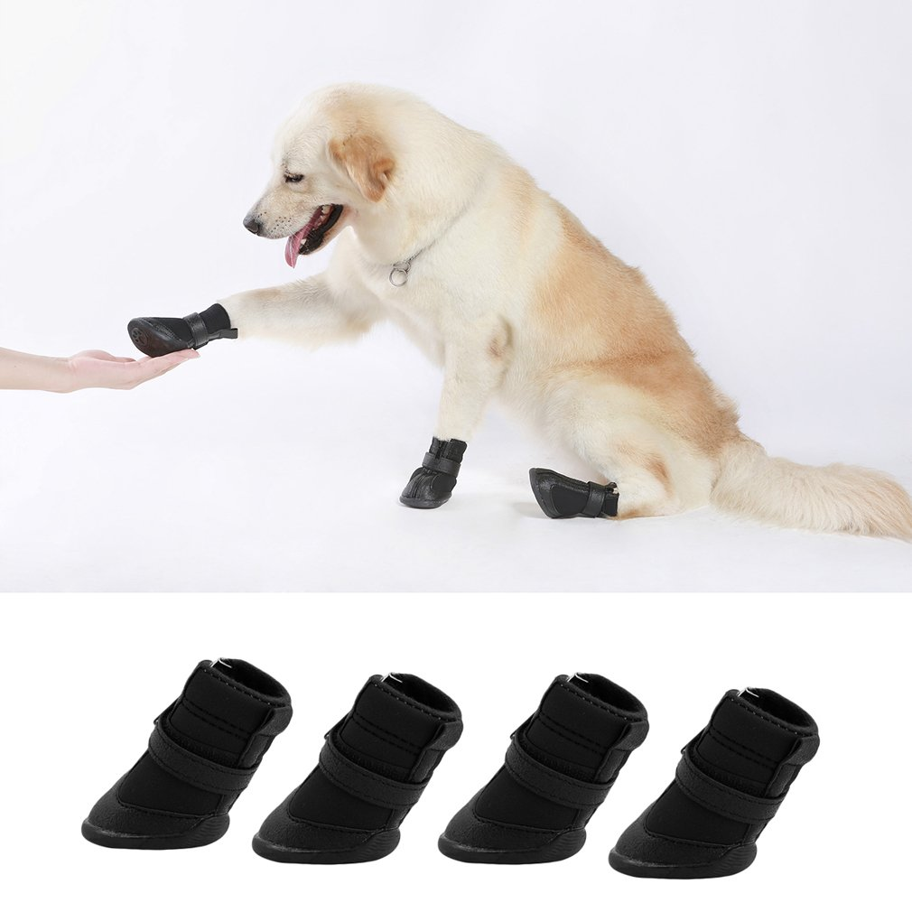 4pcs Black Waterproof Dog Shoes Cute Boots Shoes For Pets Small Dogs Puppy