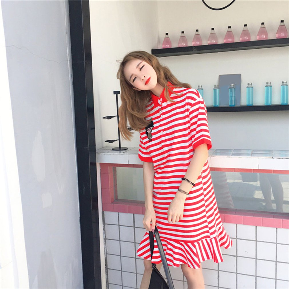 College Wind Women T-Shirt Dress Turn Down Collar Stripe Pattern Long Dress