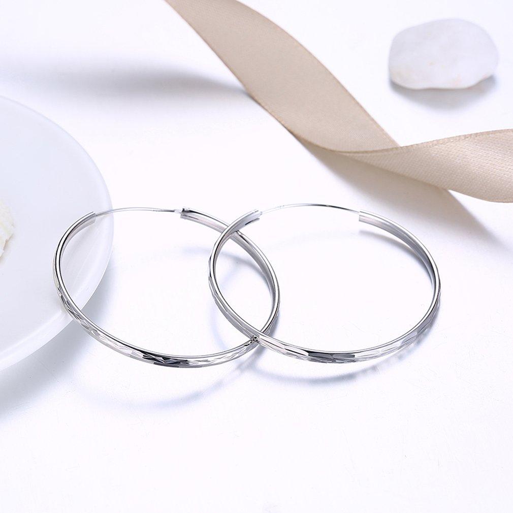 Women Simple Style Big Hoop Earrings S925 Sterling Silver Ladies Engagement Wedding Earrings Fashion Jewelry Gift