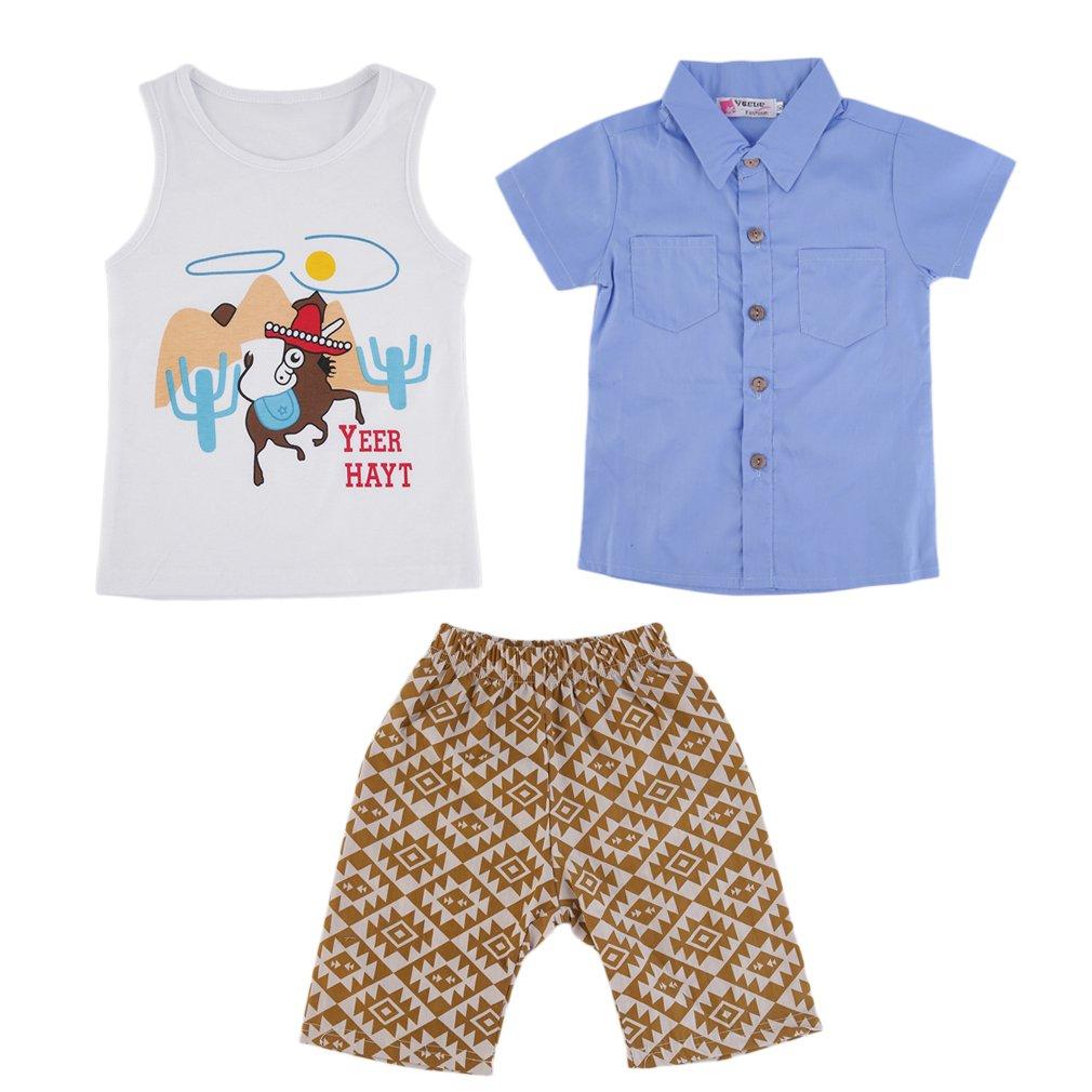 T-shirts+Vest+Shorts Set 3pcs Baby Kids Child Summer Casual Boy Outfits