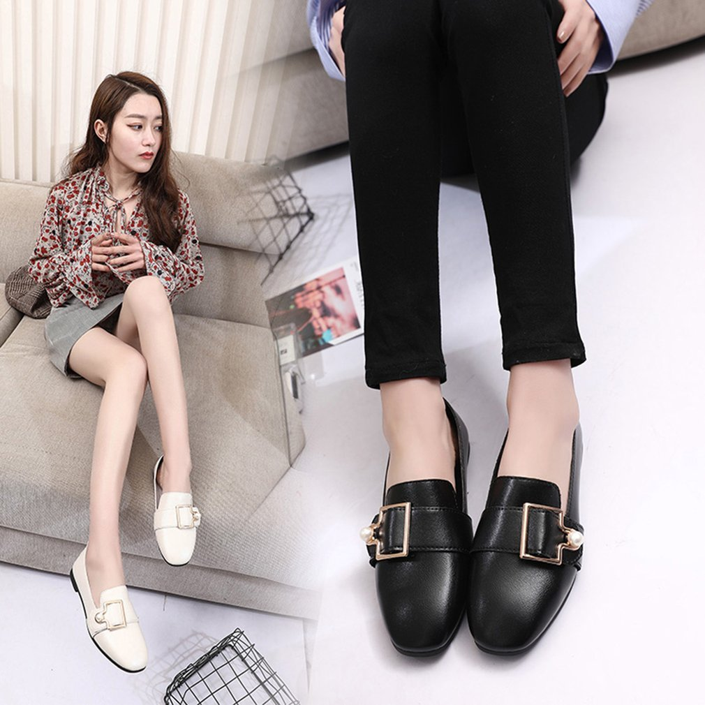 England Style Flat Heel Shoes Anti-skid Sole Soft Leather Slip On Loafer Shoes All-match Casual Women Shoes