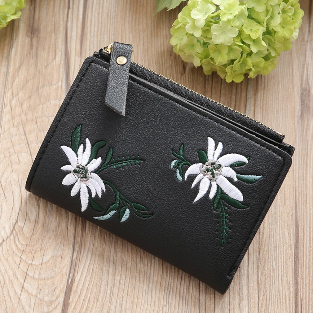 PU Leather Women Clutch Bag Wallet Charming Embroidered Wallet Card Holders