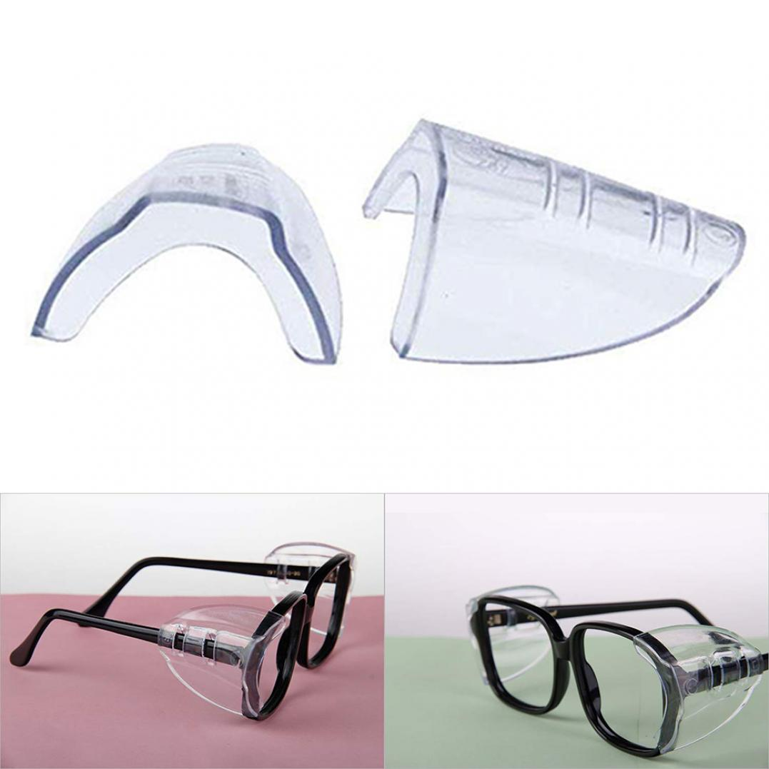 2Pcs Safety Eye Glasses Side Shields Non-toxic Clear Flexible Goggles Protector
