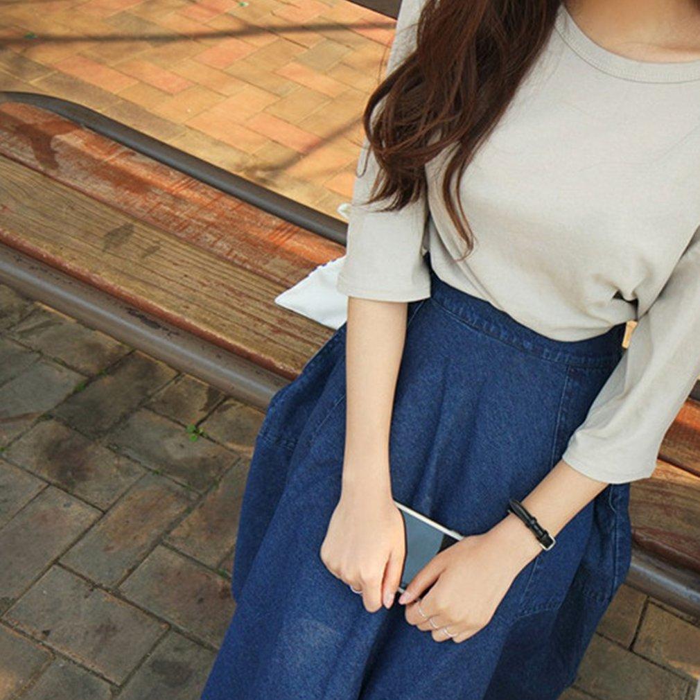 College Wind Women Denim Skirt Summer Autumn Knee Length Large Swing Skirt