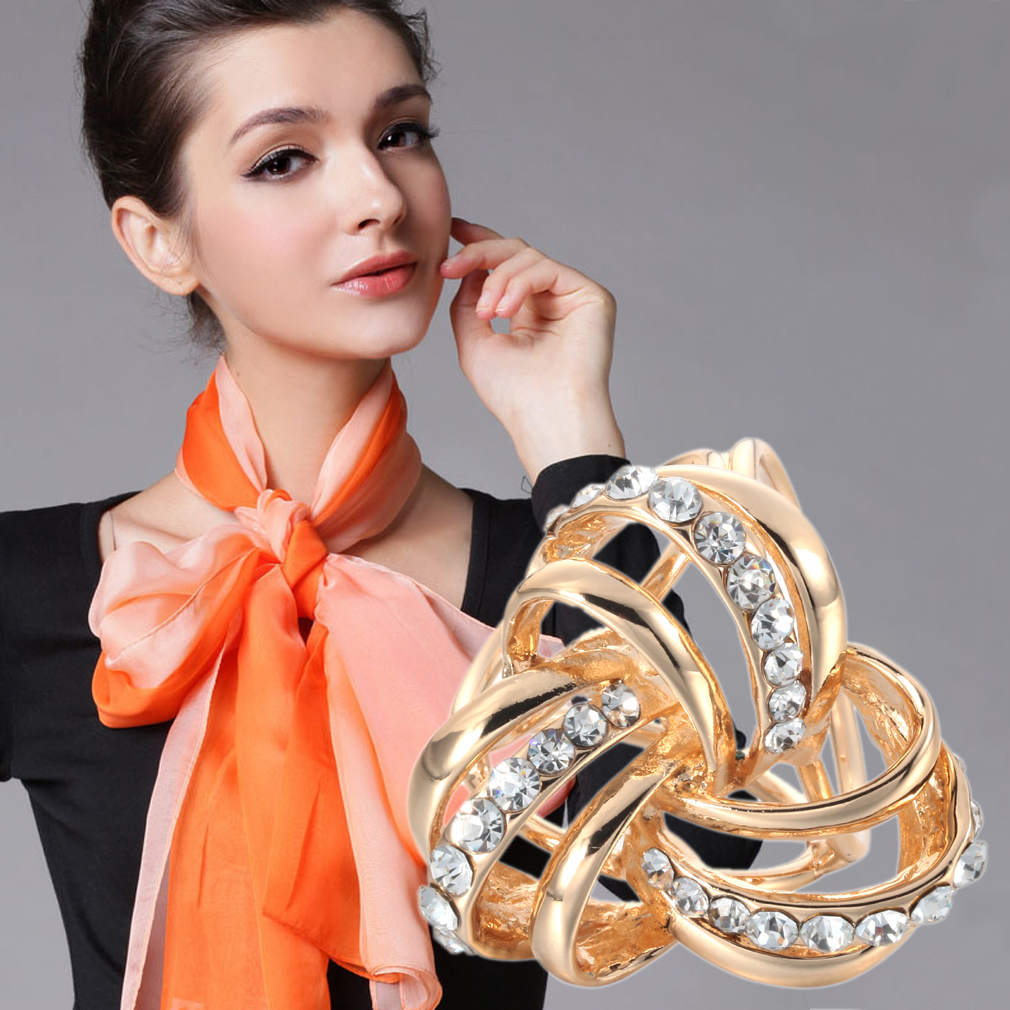 New Luxury Silver Gold plated Multilayer Cross Abstract Flower Shawl Brooch